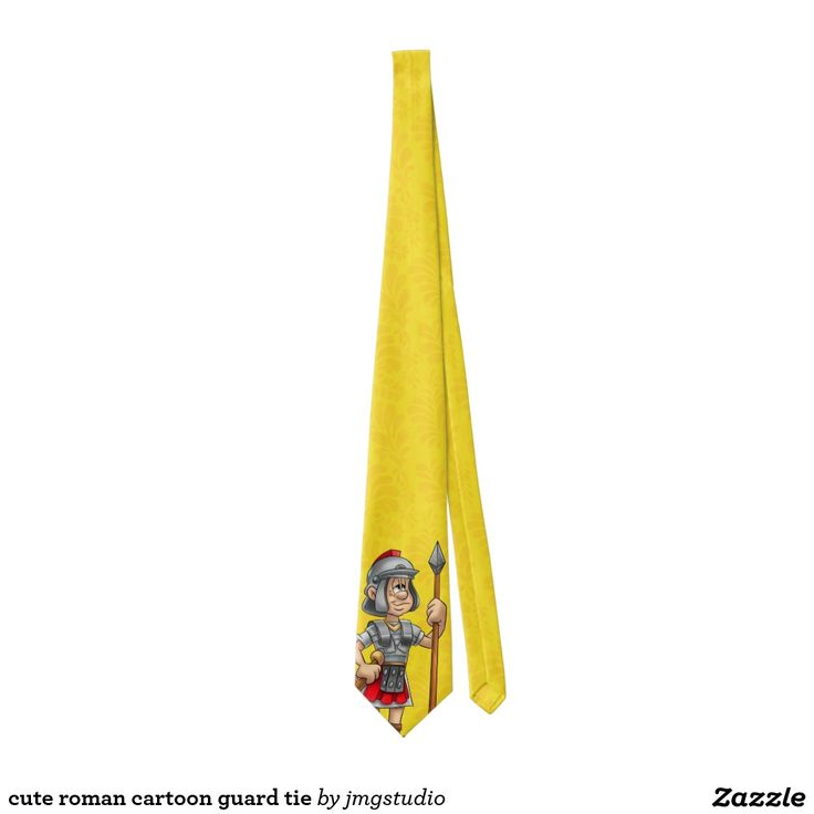 cute roman cartoon guard tie great for Christmas, father's day, birthday. very fashionable. nice pattern. zazzle store, mens wear, shirt, dressing up, suit, office wear, colorful, cute, fun, playful.
