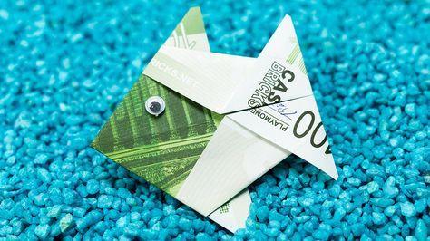 Fisch falten aus Geldschein DIY Origami Geldgeschenk Idee