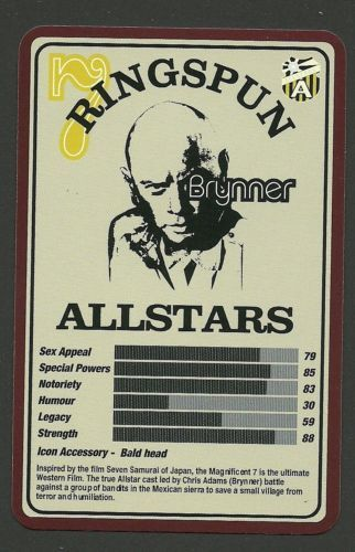 Yul Brynner Magnificant 7 Western Film Actor Scarce Ringspun Collector Card