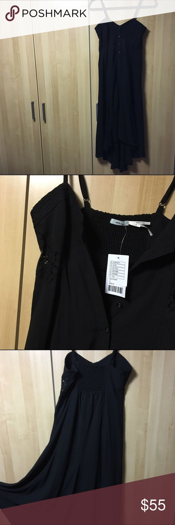 Vintage LBD by Kimchi Blue Dress by Kimchi Blue from urban outfitters. Little black dress with lace details on the sides of waist and bottom. Slip midi dress style with all the way down buttons. Stretch material with adjustable straps. A little high-low. One layered. Can go either a classic style or rebellion style. Questions welcomed. Photo credit for stock photos goes to Poshmark. Urban Outfitters Dresses Asymmetrical