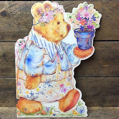 Large-Mary-Hamilton-Mary-039-s-Bears-Hallmark-Greeting-Card-Bear-with-Flower-Pot