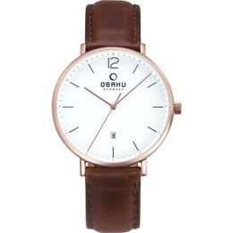 OBAKU Toft - mahogany // rose gold stainless steel watch with a brown leather strap