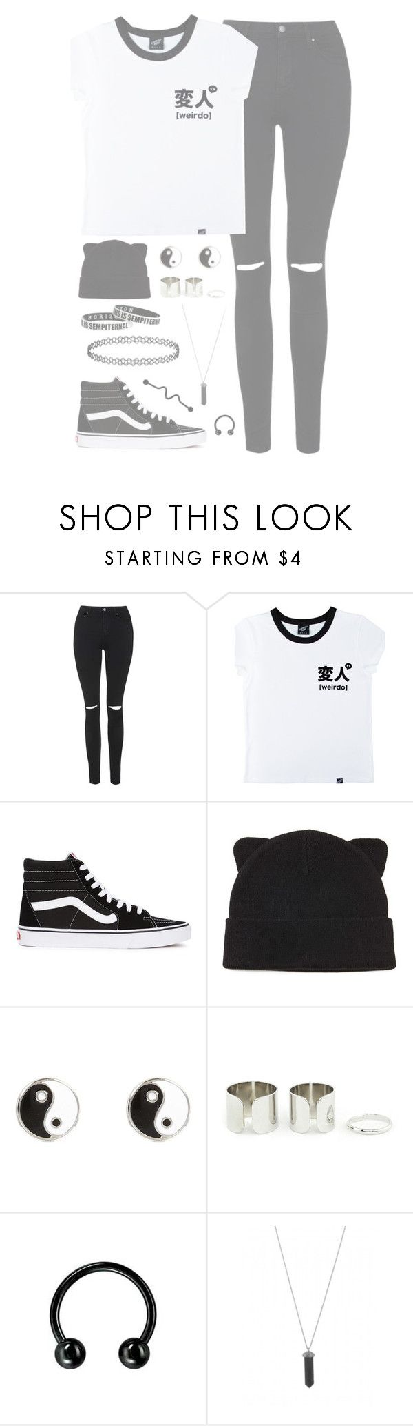 """//COOL//"" by alexdacko ❤ liked on Polyvore featuring Topshop, Illustrated People, Vans, Forever 21, River Island, Karen Kane and Hot Topic"