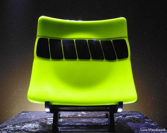 Green and Black Square Slumped Fused Glass Plate by LoveHandyWork