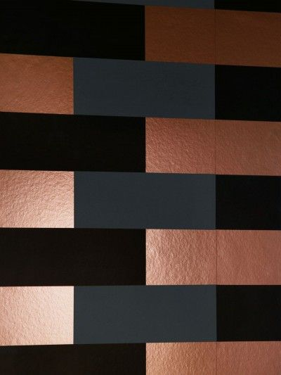 Block (BLO CCC) - Erica Wakerly Wallpapers - A stunning and bold design with layered bricks in copper burnish, grey and black, sorry metallic doesn't show well in image. Please do request a sample to see true effect. Other colour ways available. Paste-the-wall product. Pattern repeat 26.5cm