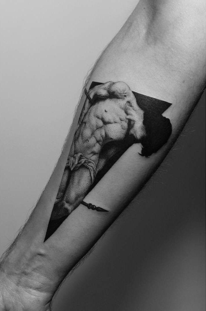 Tattoo by Paweł Indulski, based on Roberto Ferri's painting