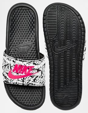 Nike Benassi Print Black Slider Sandals