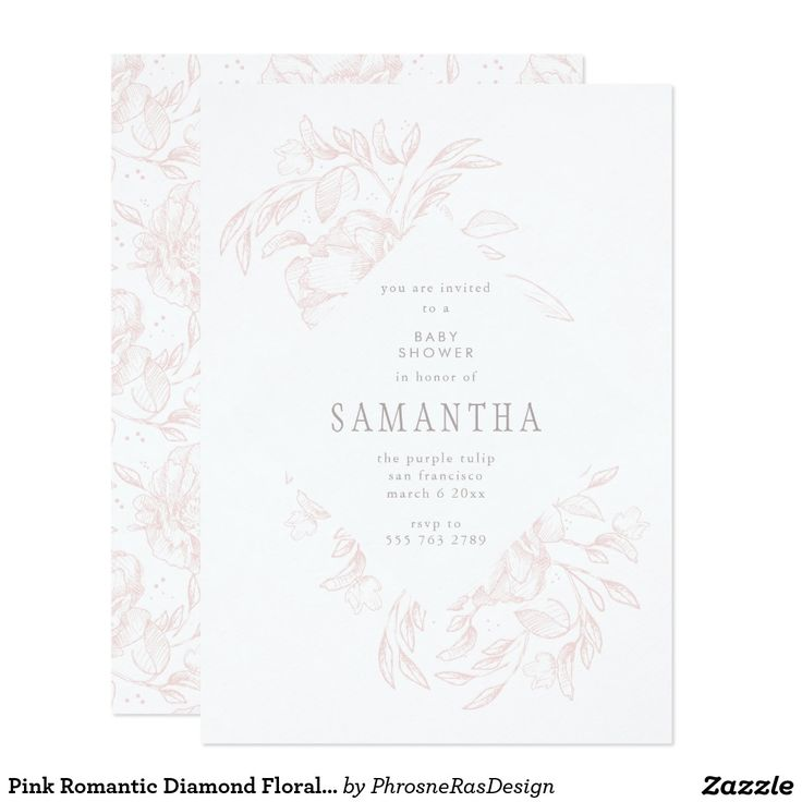 Pink Romantic Diamond Floral Frame Invitation #zazzle #invitation #stationery #tabletop #flowers #floral #organic #original #illustration #designer #suite #elegant #stylish #phrosneras #phrosnerasdesign #calligraphy