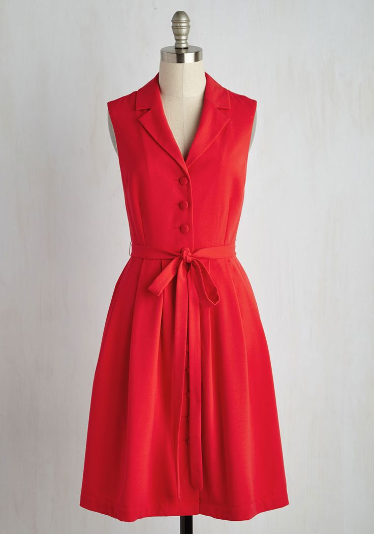 Key to Classic Dress by ModCloth - Red, Solid, Work, Vintage Inspired, 40s, A-line, Shirt Dress, Sleeveless, Spring, Woven, Better, Exclusives, Private Label, Long, Valentine's