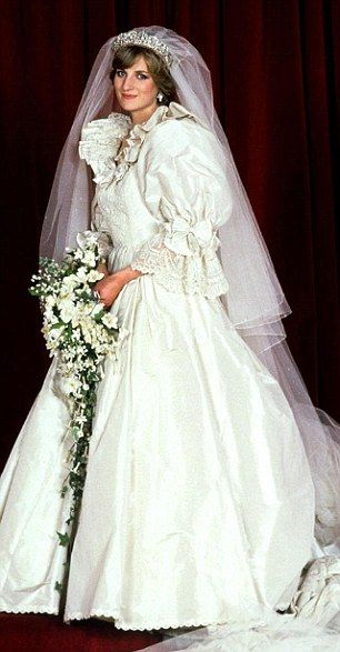 Princess Diana's Dress Details: A 25-foot train accented Diana's ivory Emanuel gown, made of 40 yards of silk taffeta; five extra copies were made as backups. For good luck, a small diamond-studded gold horseshoe was sewn into her gown.-can you imagine how heavy this dress is, beautiful yes, but must weigh a TON