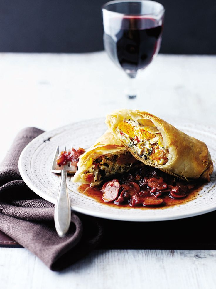 A wonderfully flaky, rich savoury filo pastry strudel, with a wicked port sauce, perfect as a vegetarian main course.