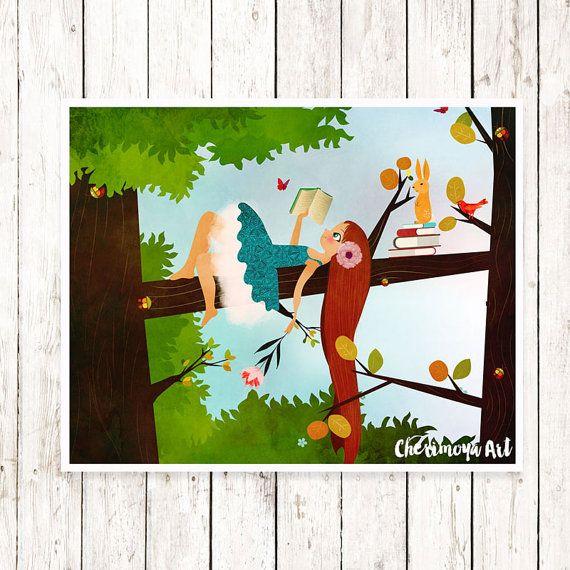 Woodland Nursery Art Girl Reading on Tree Print Wall Art Decor Girl Nursery Art Print Illustration Unique baby Gift