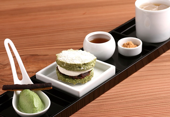 MACCHA tea set from OKU cafe in Gion, Kyoto. I had the pot custard, which was perfect. This is a must-visit place in Kyoto.