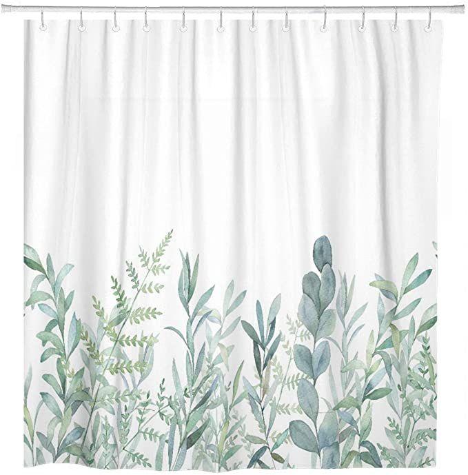 Amazon Com Artsocket Shower Curtain Green Eucalyptus Watercolor Floral Botanical Artistic Bor In 2020 Floral Shower Curtains Flower Shower Curtain Boho Shower Curtain