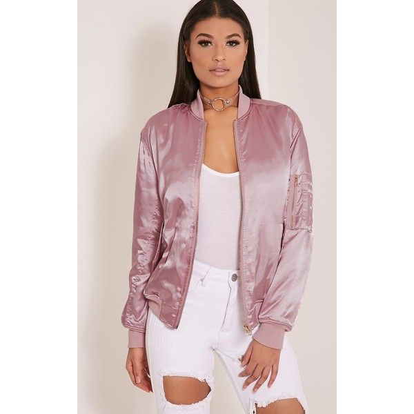 Cruz Dusty Pink Satin Bomber Jacket-8 (52 AUD) ❤ liked on Polyvore featuring outerwear, jackets, dusty pink, satin jackets, blouson jacket, bomber style jacket, bomber jackets and pink jacket