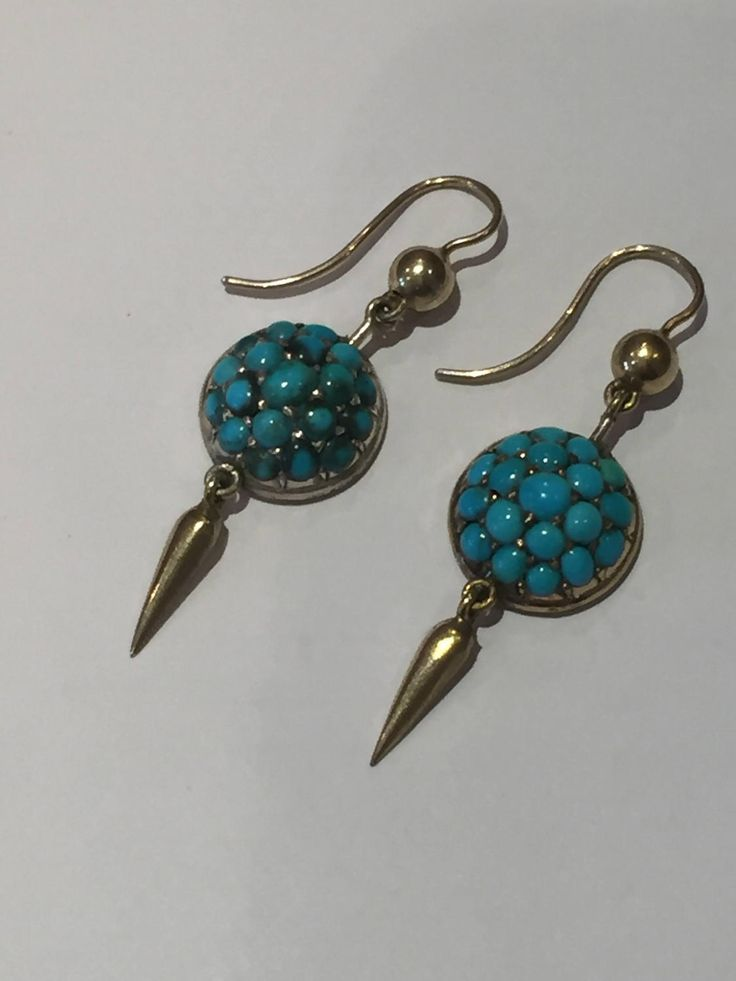 A Pair of Persian Turquoise Antique earrings by mitaineshop on Etsy