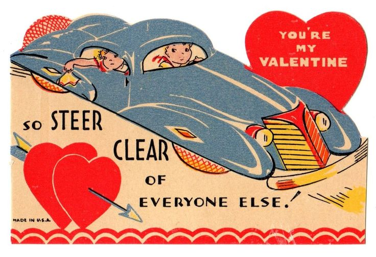 "CUTE COUPLE IN SPORTS CAR SAY ""STEER CLEAR OF EVERYONE ELSE"" /VTG VALENTINE CARD"