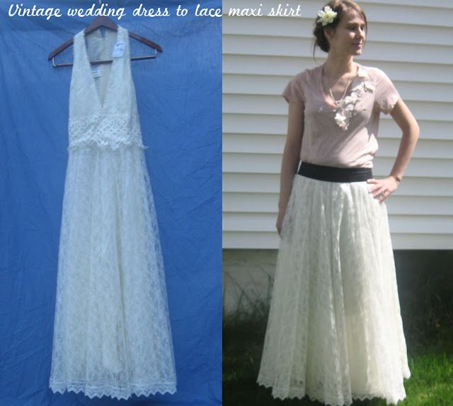 Turn an old dress to a maxi skirt - I'm always seeing old wedding dresses at the Thrift Store