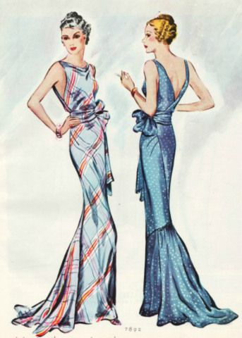 30s evening gown stripe plaid? blue bias cut draping long dress low back color illustration vintage fashion McCall 7892 | ca. 1934 Ladies Misses Evening Dress