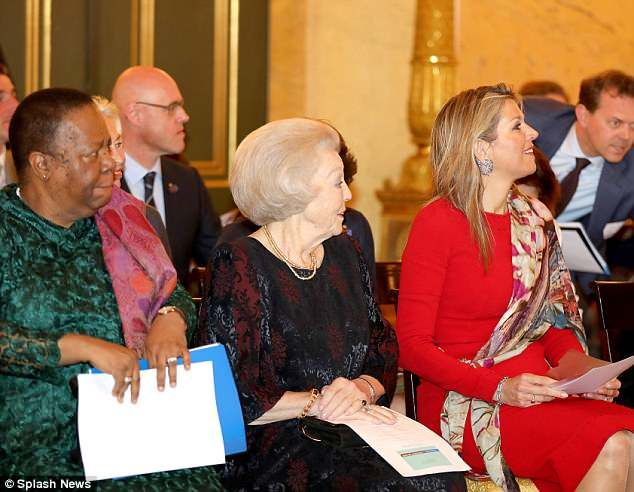 She was in the company of her mother-in-law and former Queen, Beatrix of the Netherlands, 80, who is mother to Maxima's husband Willem-Alexander, King of the Netherlands (centre)