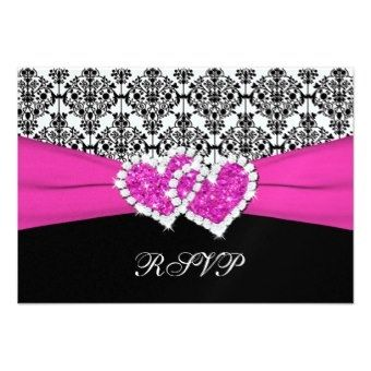 fuchsia, black, and white invitations  | ... Invitations | Black, White, Pink Damask & Hearts Reply Card Invitation