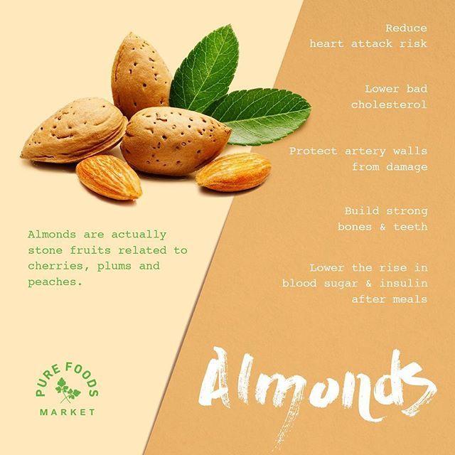 Kacang almond ini merupakan makanan populer bagi penduduk Mesir kuno dan India. Dahulu praktisi Ayurvedic India bahkan percaya bahwa almond ini bermanfaat untuk meningkatkan kapasitas otak, kemampuan intelektual dan umur panjang. Berikut maanfaatnya: - Memberikan jumlah besar nutrisi - Dipenuhi antioksidan - Kaya akan vitamin E yang dapat melindungi membran sel  dari kerusakan - Mengontrol gula darah - Turunkan kadar kolesterol … dan mash bank lagi. • #almond #facts #benefit #infographic