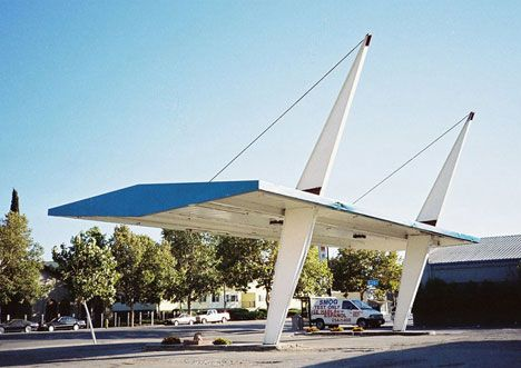 Alum Rock Gas Station - San Jose, California features two leaning pylons holding up a large steel canopy with nothing but carefully positioned guy wires.