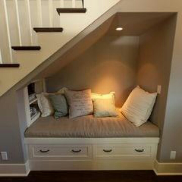 Nook for reading.  Great idea for a finished basement!