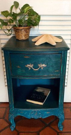French Styke Blue Nightstand 1950s by RevisitedConcepts on Etsy