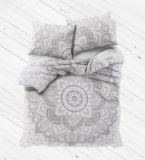 Labhanshi White Silver Ombre Mandala Duvet Cover With Pillow cases, Mandala Duvet Cover, Bohemian Comforter Cover Throw Quilt Cover