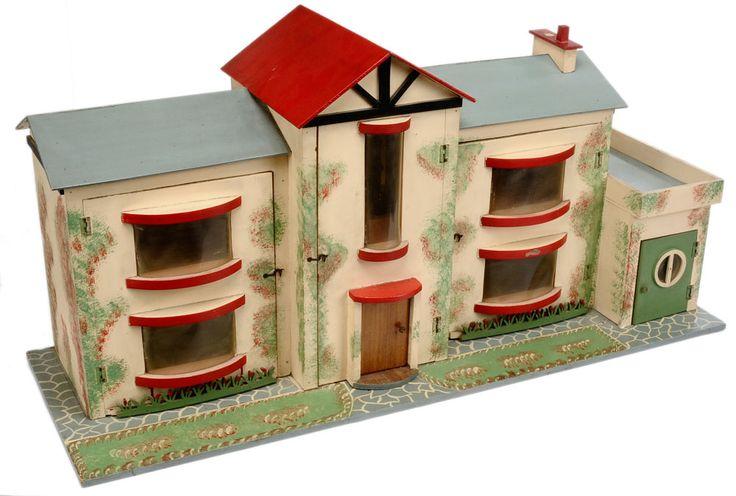 Large wooden Art Deco style Dolls House, British, 1930's
