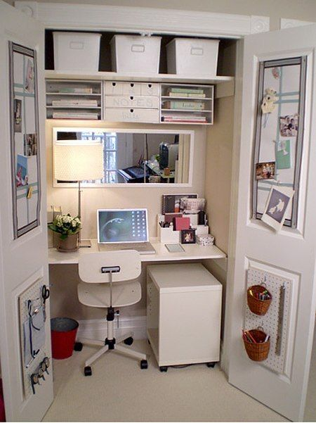 Closet workspace - desk - like the mirror and how cozy the actual deskspace  feels with