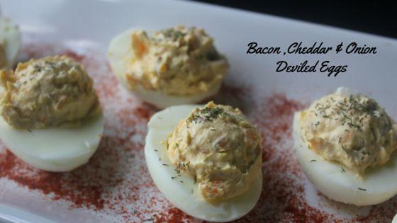Bacon, Cheddar & Onion Deviled Eggs