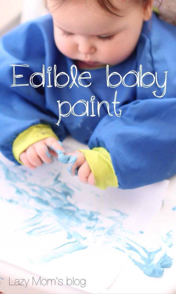 The easiest ever, 2 ingredients edible baby paint, great activity for your baby while you're taking care of older siblings!