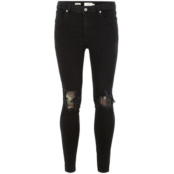 TOPMAN Black Spray On Camouflage Patch Jeans (€51) ❤ liked on Polyvore featuring men's fashion, men's clothing, men's jeans, black, mens zipper jeans, mens patched jeans, mens ripped skinny jeans, mens camo jeans and mens super skinny ripped jeans