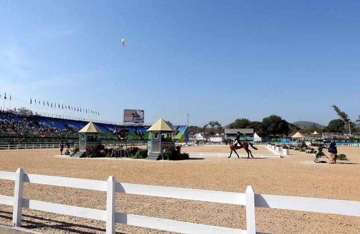 An overall view of the stadium during equestrian eventing dressage in Rio 2016 Summer Olympic Games at Olympic Equestrian Centre.