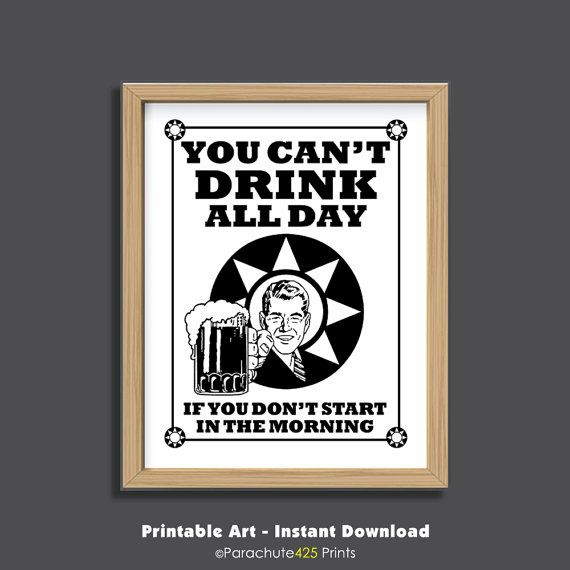 Funny Beer Poster Instant Download You Can't by Parachute425Prints