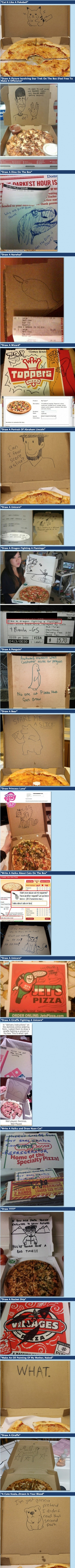 20 Funny special requests, pizza boxes, next time I order pizza online I will ask them to draw hello kitty lol