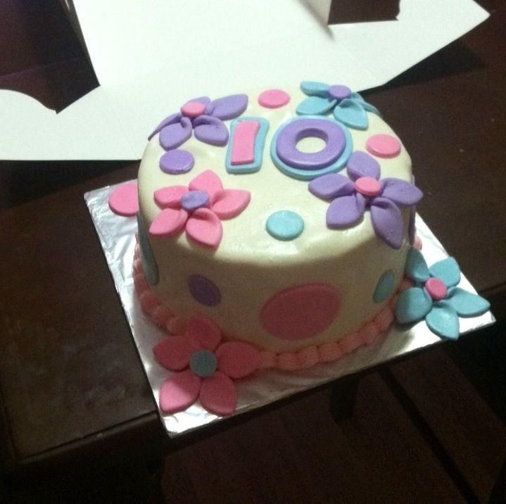 Flowery 10 Yr Old Girl Birthday Cake My Creations