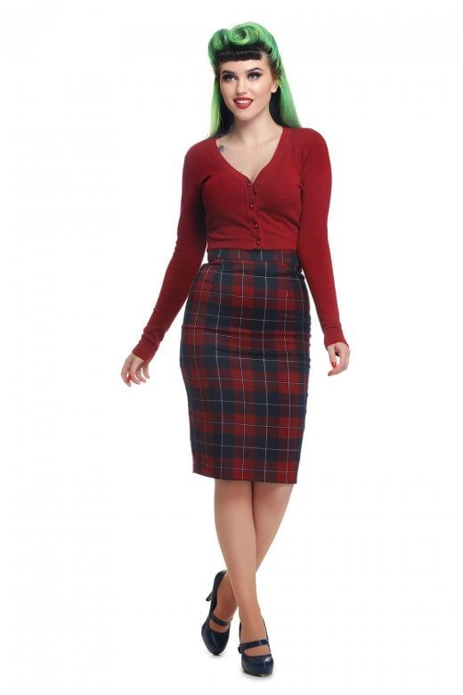 Collectif Vintage Polly Ginsburg Check Pencil Skirt  ad43a3868