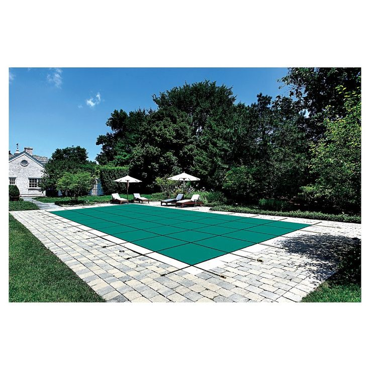 WaterWarden Safety Pool Cover for 18' x 36' In Ground Pool - Green Mesh/Center End Step