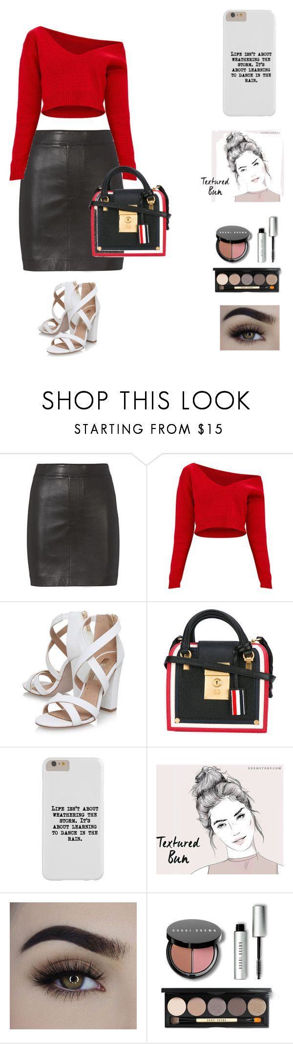 """""""RWB: Red, White, and Black Groove"""" by fashion-stylist-designer ❤ liked on Polyvore featuring Helmut Lang, Miss KG, Thom Browne and Bobbi Brown Cosmetics"""