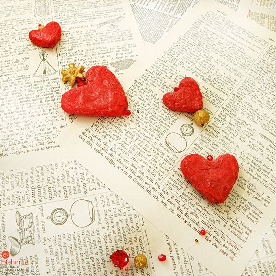Papier mache love mobile red heart garland by EfthimiaPapierMache