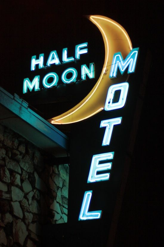 Neon Sign - Half Moon Motel, Culver City, LA- California