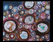 Atomes crochus: tableau abstrait sur châssis à clé entoilé de 46cm sur 38cm.   Signé et daté en bas à droite et contresigné au dos avec le titre et la date.    Le tableau est peint sur les coté, et donc, prêt à être accroché chez vous.    Livraison : entre 2 et 8 jour(s) après