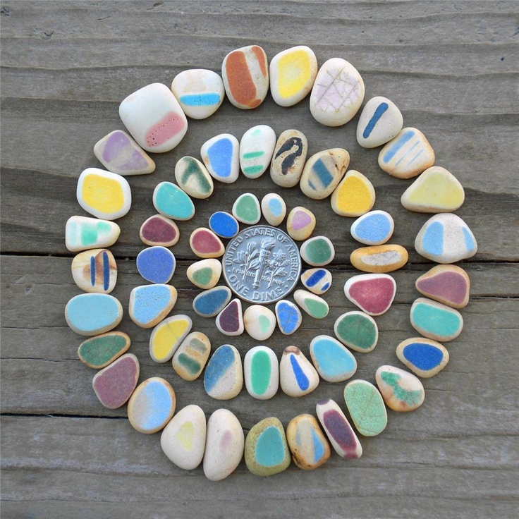 sea pottery ,,great idea for stepping stones