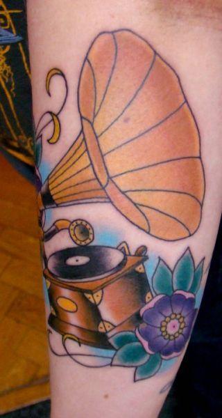tattoome:    Gramophone #tattoo by Vesko, Prague
