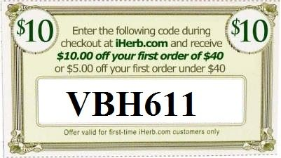 $10 OFF new orders over $40 or $5 OFF new orders below $40, use iHerb code VBH611. PLUS if ordering over $60, get an extra 5% off! One-time offer!  Apply the coupon code directly HERE -> http://www.iherb.com/?rcode=VBH611 <-