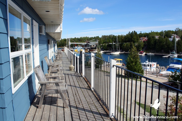 Balcony View from Harbourside Motel on Little Tub Harbour, Tobermory, ON Canada. www.blueheronco.com