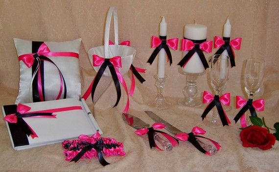 Hot Pink and Black Wedding Colors 12pc Ensemble by All4Brides